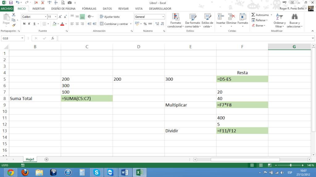 Aprender Excel, Trabajando con Formulas
